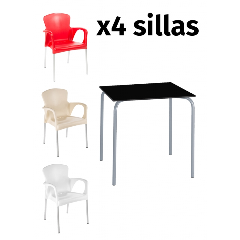 Pack mesa SITA + 4 sillas GRACE Pack mesa SITA + 4 sillas GRACE